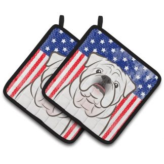 Bulldog Pot Holders (White) - USA (Pair)
