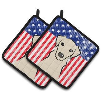 Yellow Lab Pot Holders - USA (Pair)