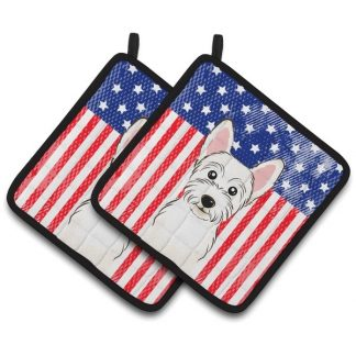 West Highland Terrier Pot Holders - USA (Pair)