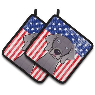 Weimaraner Chin Pot Holders - USA (Pair)