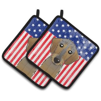 Wirehaired Dachshund Pot Holders - USA (Pair)