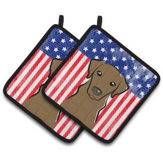 Chocolate Lab Pot Holders - USA (Pair)