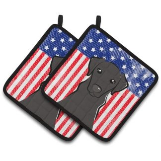 Black Lab Pot Holders - USA (Pair)