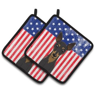 Miniature Pinscher Pot Holders - USA (Pair)