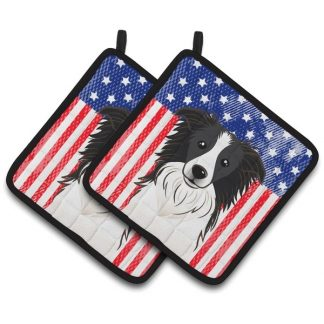 Border Collie Pot Holders - USA (Pair)