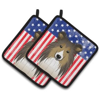 Shetland Sheepdog Pot Holders - USA (Pair)