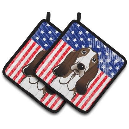 Basset Hound Pot Holders - USA (Pair)