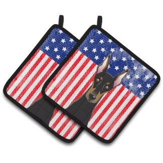 Doberman Pinscher Pot Holders - USA (Pair)