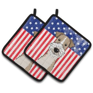 Wire Fox Terrier Pot Holders - USA (Pair)