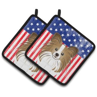 Papillon Pot Holders - USA (Pair)