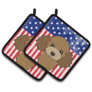 Chocolate Poodle Pot Holders - USA (Pair)