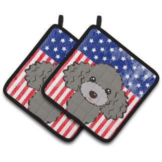Silver Poodle Pot Holders - USA (Pair)