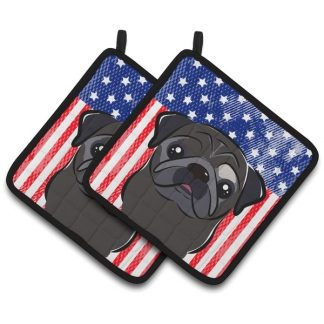 Pug Pot Holders (Black) - USA (Pair)