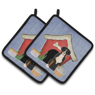 Greater Swiss Mountain Dog Pot Holders - House (Pair)