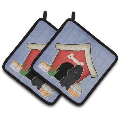 Black Poodle Pot Holders - House (Pair)