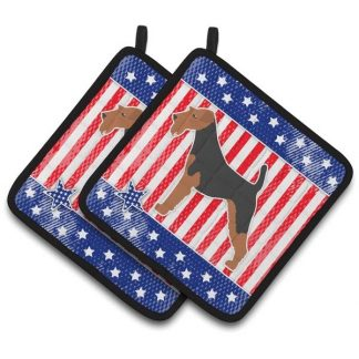 Welsh Terrier Pot Holders - USA (Pair)