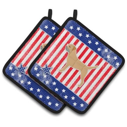 Border Terrier Pot Holders - USA (Pair)