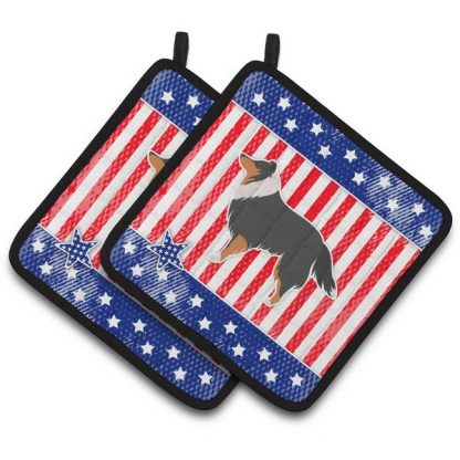 Tri Shetland Sheepdog Pot Holders - USA (Pair)