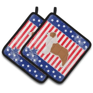 Red Merle Australian Shepherd Pot Holders - USA (Pair)