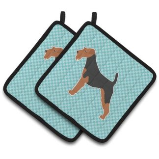 Welsh Terrier Pot Holders - Blue (Pair)