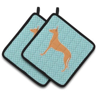 Pharaoh Hound Pot Holders - Blue (Pair)