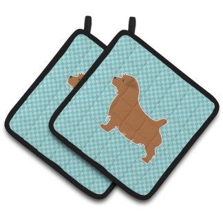 Norfolk Terrier Pot Holders - Blue (Pair)