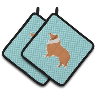 Collie Pot Holders - Blue (Pair)