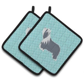 Bearded Collie Pot Holders - Blue (Pair)