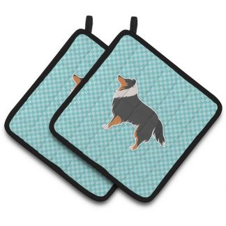 Tri Shetland Sheepdog Pot Holders - Blue (Pair)