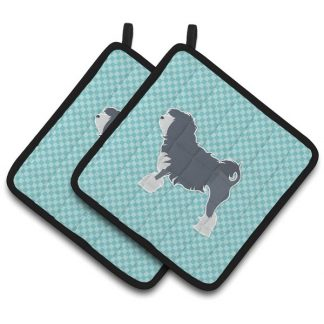 Lowchen Pot Holders - Blue (Pair)
