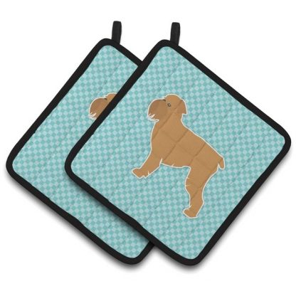 Brussels Griffon Pot Holders - Blue (Pair)