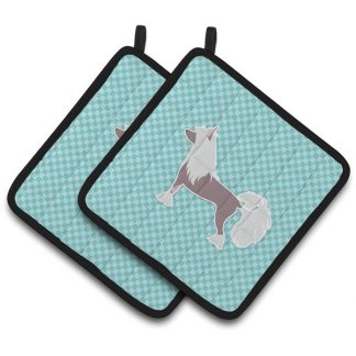 Chinese Crested Pot Holders - Blue (Pair)