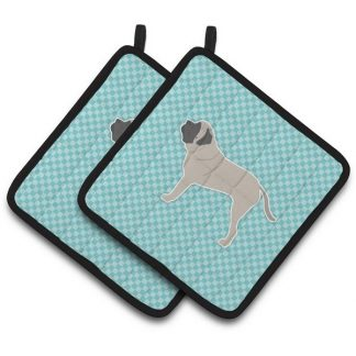 Mastiff Pot Holders - Blue (Pair)