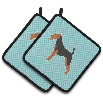 Airedale Terrier Pot Holders - Blue (Pair)