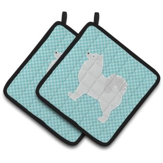 Samoyed Pot Holders - Blue (Pair)