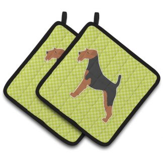 Welsh Terrier Pot Holders - Green (Pair)