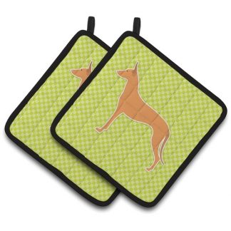 Pharaoh Hound Pot Holders - Green (Pair)