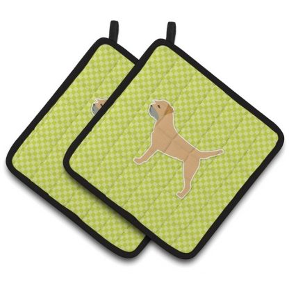 Border Terrier Pot Holders - Green (Pair)