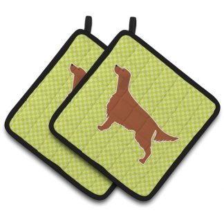 Irish Setter Pot Holders - Green (Pair)