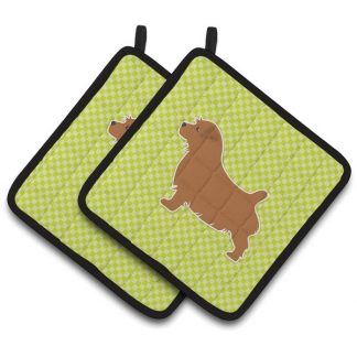 Norfolk Terrier Pot Holders - Green (Pair)