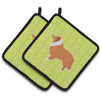Collie Pot Holders - Green (Pair)
