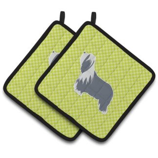 Bearded Collie Pot Holders - Green (Pair)