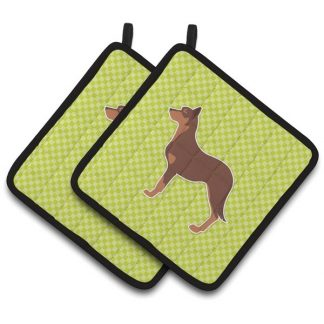 Australian Kelpie Pot Holders - Green (Pair)