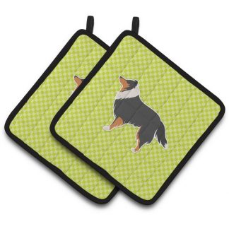 Tri Shetland Sheepdog Pot Holders - Green (Pair)