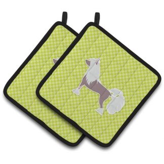 Chinese Crested Pot Holders - Green (Pair)