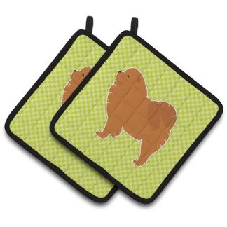 Chow Chow Pot Holders - Green (Pair)