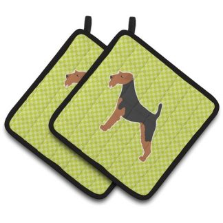 Airedale Terrier Pot Holders - Green (Pair)