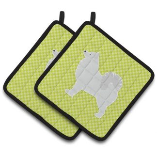 Samoyed Pot Holders - Green (Pair)