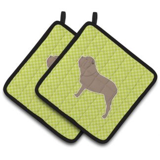 Neapolitan Mastiff Pot Holders - Green (Pair)