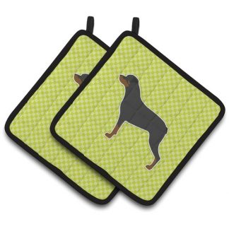 Rottweiler Pot Holders - Green (Pair)
